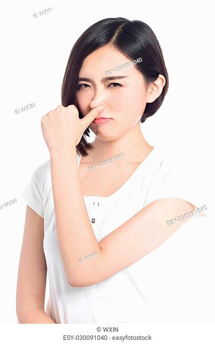 chinese woman facial expressions, white background