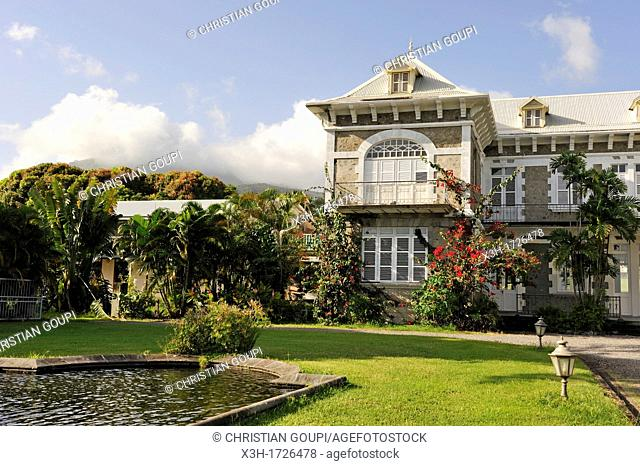 Castle of the Rum Depaz distillery at the foot of the Mount Pelee, Martinique, french island overseas region and department in the Lesser Antilles in the...