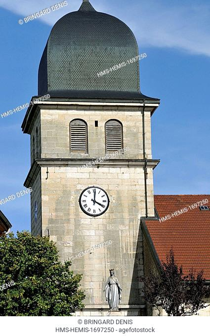 France, Jura, Les Rousses, church dated 18th century, the imperial tower Comtois