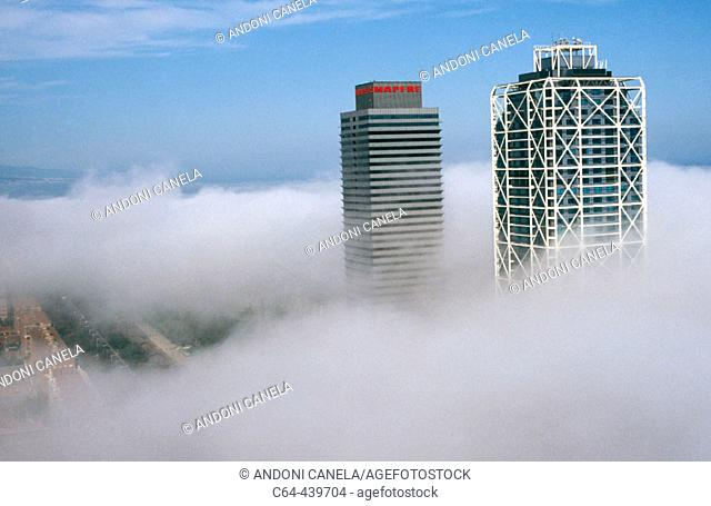 Barcelona, view from a balloon. Stratus clouds over the city, Catalonia, Spain