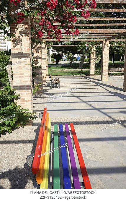 Bench in park Cullera Spain