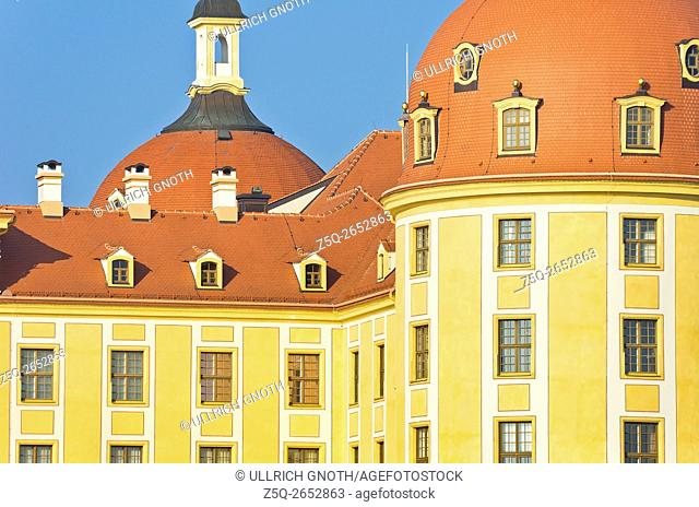 Schloss Moritzburg Castle near Dresden, Saxony, Germany, detailed exterior view