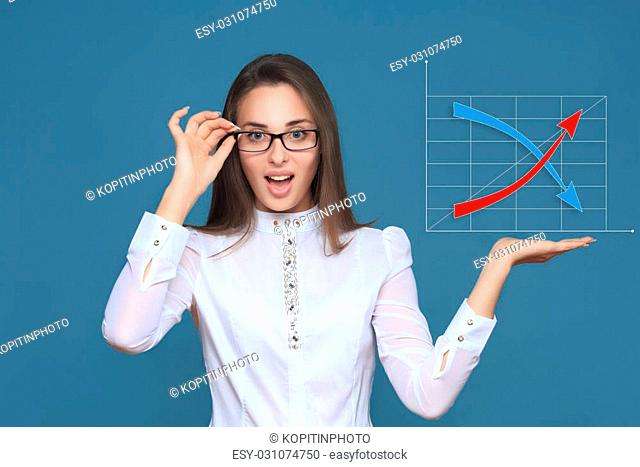Businesswoman pointing her finger on imaginery virtual button