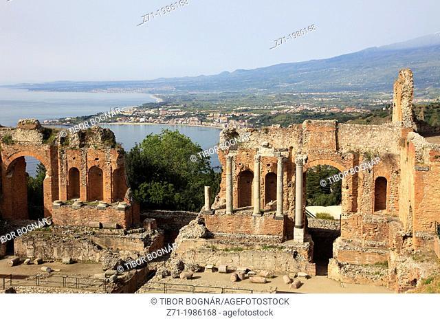 Italy, Sicily, Taormina, Greek Theatre,
