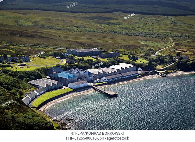 Aerial view of coastline and whisky distillery, Bunnahabhain Distillery, Isle of Islay, Inner Hebrides, Scotland