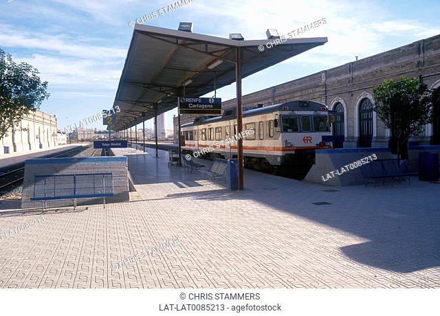 Costa Calida. RENFE station. Train at platform