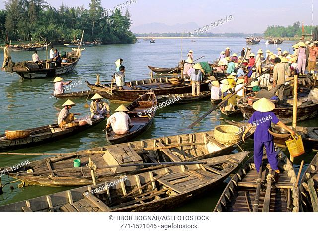 Vietnam, Hoi An, boats on Thu Bon river