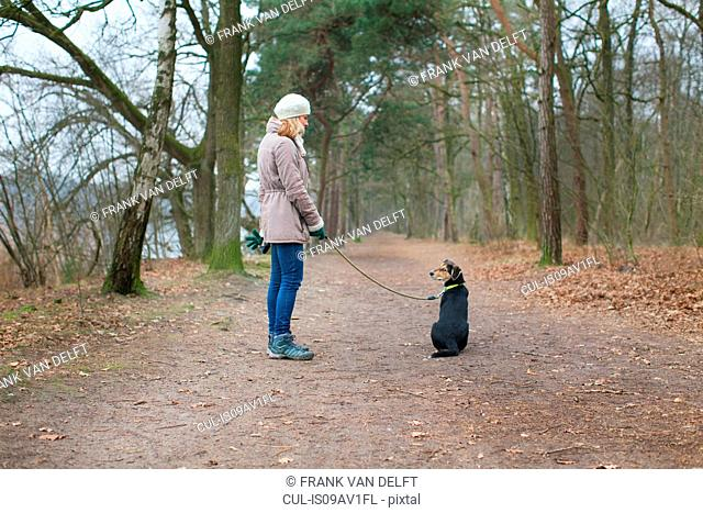 Mid adult woman and her dog in forest