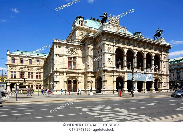 Austria, A-Vienna, Danube, Federal Capital, Vienna State Opera at the Opernring, Vienna Ring Road, UNESCO World Heritage Site