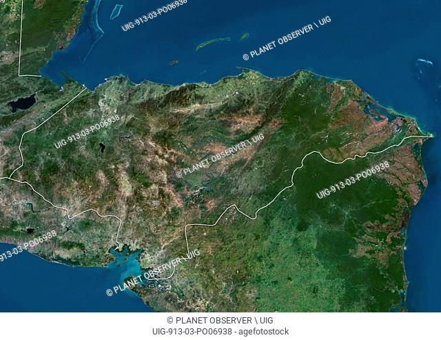 Satellite view of Honduras (with country boundaries). This image was compiled from data acquired by Landsat satellites