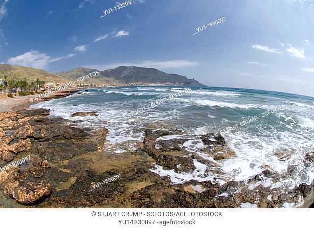 The rugged coastline of La Azohia, Cartagena in the region of Murcia, South Eastern Spain