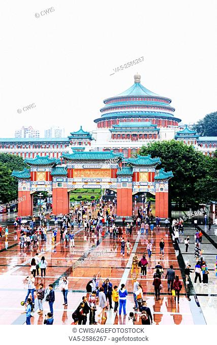 Chongqing, China - The view of Chongqing People's Great Hall with many people