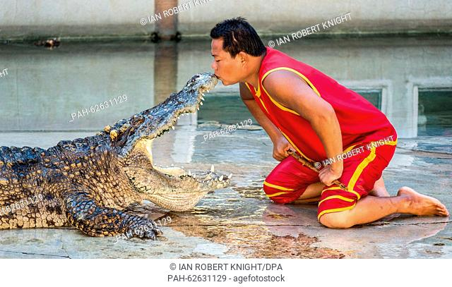 An artists kisses a crocodile on the nose during a performance at the crocodile farm in Samut Prakan,Thailand, 13 October 2015