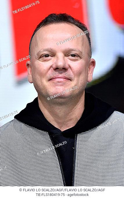 Gigi D'Alessio during the photocall of tv show The voice of Italy, Milan, ITALY-18-04-2019