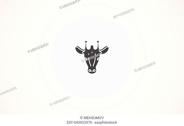Giraffe head line icon, outline vector sign, linear style pictogram isolated on white. Symbol, logo illustration. Editable stroke
