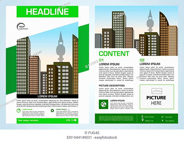 Vector flyer, corporate business, annual report, brochure design and cover presentation with green elements