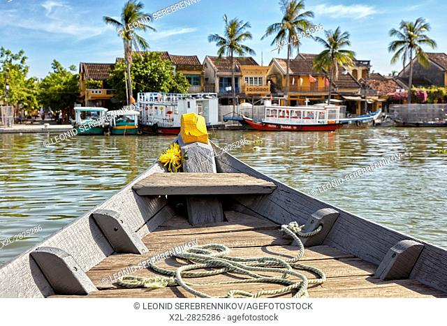 Bow of a traditional boat on the Thu Bon River. Hoi An, Quang Nam Province, Vietnam