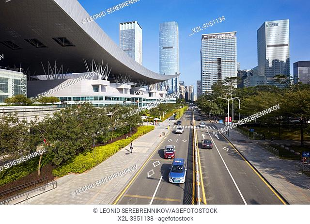 Street scene at Shenzhen Civic Center. Shenzhen, Guangdong Province, China