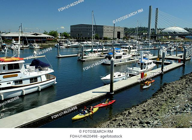 Tacoma, WA, Washington, Puget Sound, Thea Foss Waterway, marina, kayaking