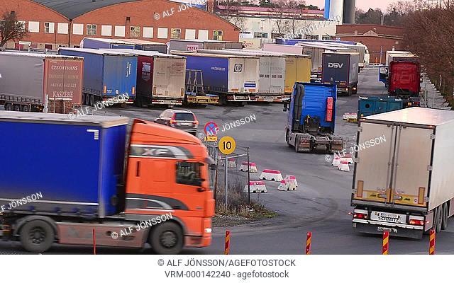 Truck terminal in Ystad harbor