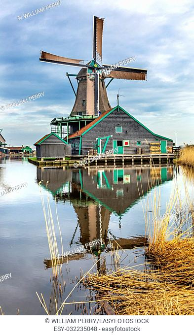Wooden Windmill Zaanse Schans Old Windmill Village Countryside Holland Netherlands. Working windmills from the 16th to 18th century on the River Zaan