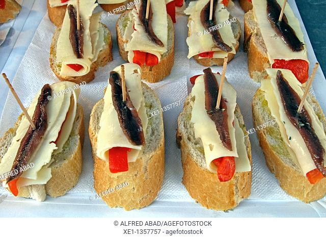 pepper, cheese and anchovy sandwiches, food