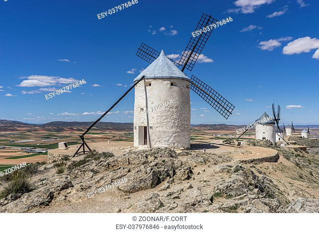 windmills of Consuegra in Toledo City, were used to grind grain of wheat and barley