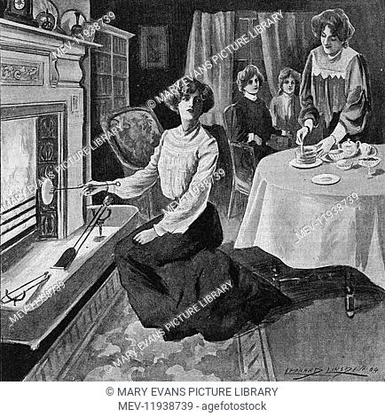 Cosy scene of an Edwardian interior with women enjoying tea and toasted muffins or crumpets, toasted with a toasting fork on a roaring fire. Lovely