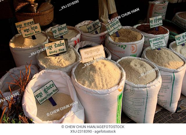 Rice, Jasmine Rice and Food in the Market, siem reap, combodia