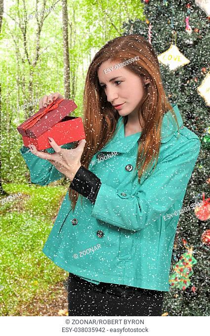 Beautiful Woman Holding Gift