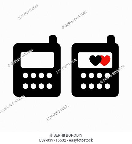 Phone black color Two items Flat style