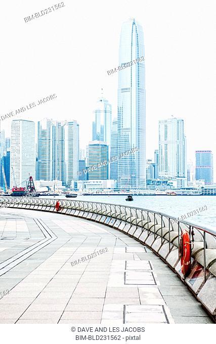 Modern city skyline at waterfront