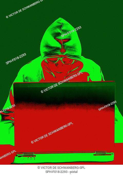 Hooded figure hacking laptop computer, illustration