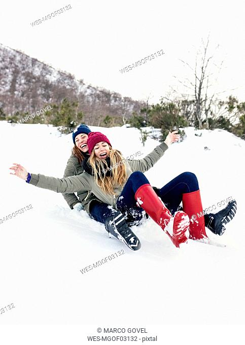 Two best friends having fun with a sled in the snow