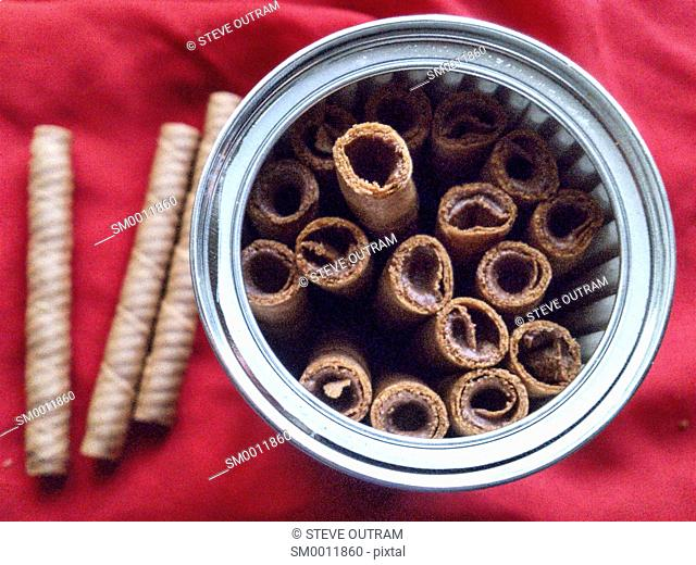 A Tin of Greek Caprice Wafers with Hazelnuts and Cocoa