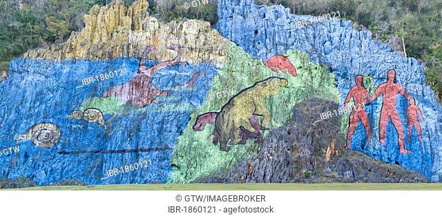 Mural de la Prehistoria, Prehistoric wall, Vinales, Unesco World Heritage Site, Pinar del Rio Province, Cuba, Central America