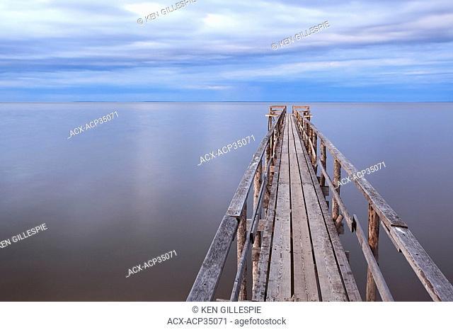 Wooden pier on Lake Winnipeg. Matlock, Manitoba, Canada