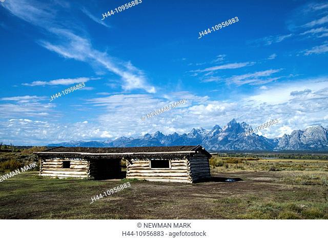 Cunningham, pioneer cabin, historical, hut, Grand Teton, national park, Wyoming, USA, United States, America, landscape, mountain