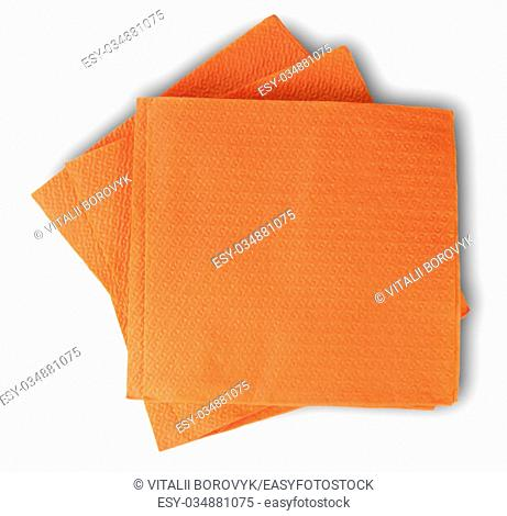 Some Blank Orange Paper Serviettes Isolated On White Background