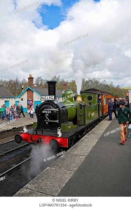 England, North Yorkshire, Grosmont. Steam Locomotive 69023 Joem at Grosmont Railway Station