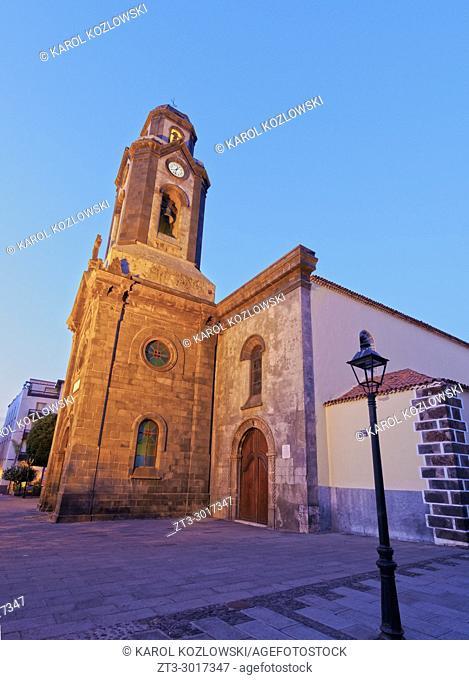 Iglesia de Nuestra Senora de la Pena de Francia, church, Puerto de la Cruz, twilight, Tenerife Island, Canary Islands, Spain