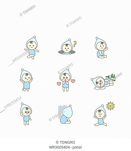 Various emoticon icons of infants