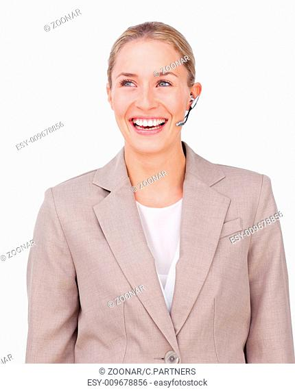 Portrait of a sparkling businesswoman with headset on against a white background