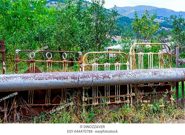 Fence made of old bed parts, Armenia