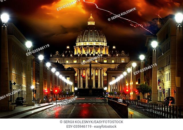 Thunder, lightning, storm over the Vatican. Rome, Italy
