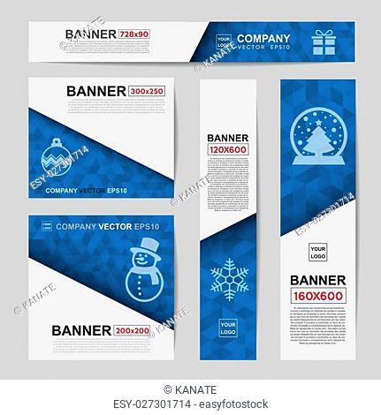 Abstract Christmas banner for Christmas Website Ads.Ratio,728x90,300x250,200x200,120x600,160x600
