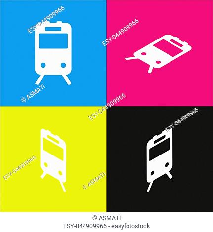 Train sign. Vector. White icon with isometric projections on cyan, magenta, yellow and black backgrounds