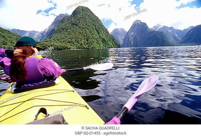 Canoeing, Milford Soud, South Island, Fiordland National Park, New Zealand