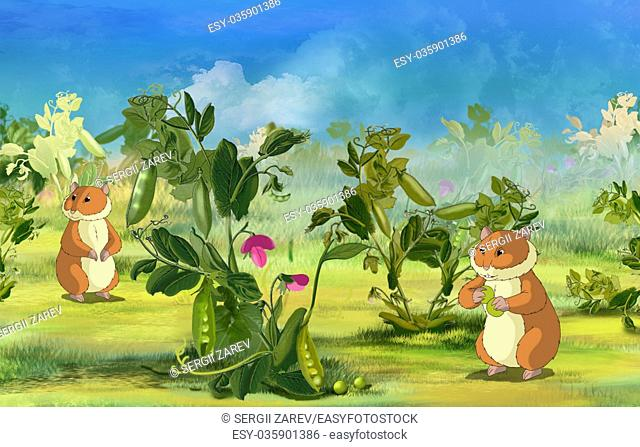 Two Hamsters on Pea Field. Digital painting cartoon style full color illustration