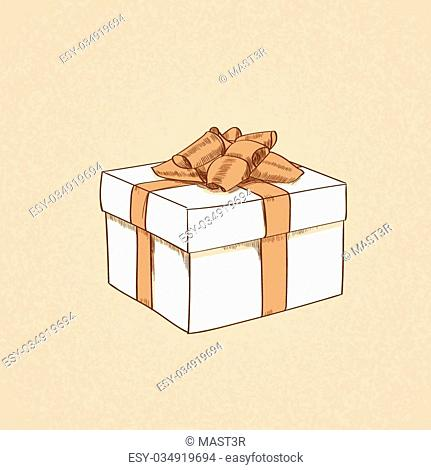 Red Gift Box Present Sketch Retro Vector Illustration
